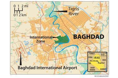 برخورد موشک در نزدیکی فرودگاه بین المللی بغداد